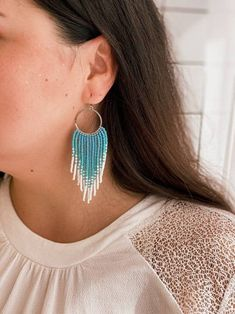 Beach classics! White sand, blue sea... Dancing fringe earrings will suit your swimsuit perfectly. ✔ Made with high-quality Czech beads. ✔ Strong weaving thread used. ✔ Stainless steel hoops and hooks, suitable for sensitive ears (can be replaced for sterling silver) Prom Earrings, Seed Bead Earrings, Fringe Earrings, Polymer Clay Earrings, Beaded Earrings, Beaded Jewelry, Crochet Earrings, Jewellery, Brick Stitch Earrings