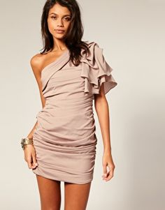 Forever Unique Gathered One Sleeve Dress
