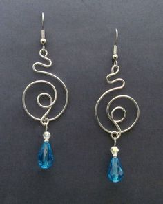 Spirals Earrings in Argentium Sterling Silver & Glass Beads 1