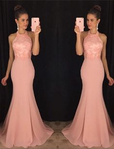 Halter Blush Pink Mermaid Evening Prom Dresses, 2017 Long Party Prom Dress, Custom Long Prom Dresses, Cheap Formal Prom Dresses, 17063