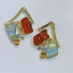 Boulder opal & Mexican opal with diamonds and topaz in 22k and 18k gold;  by Jennifer Kalled