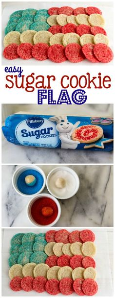 Easy Sugar Cookie Flag - only a few ingredients gets you the perfect 4th of July dessert!