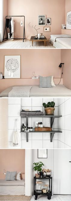 "My new fav wall color! Hubby says no, I say""let's see you try and paint over it! Peach Rooms, Peach Bedroom, Decor Room, Bedroom Decor, Bedroom Wall, Interior Exterior, Interior Design, Grey Wall Color, Color Black"