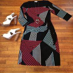 "Selling this ""Geometric print dress"" in my Poshmark closet! My username is: princesssuite1. #shopmycloset #poshmark #fashion #shopping #style #forsale #New York & Company #Dresses & Skirts"