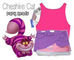 """Cheshire Cat~ DisneyBound"" by basic-disney ❤ liked on Polyvore featuring Disney, Lucky Brand and Vans"