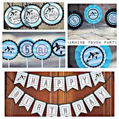 Orca Whale Birthday Party-In-A-Box by Charming Touch Parties.  4 piece deluxe kit.  Customizable. by CharmingTouchParties on Etsy