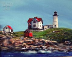 Most photographed and painted lighthouses in Maine. The Nubble Light House. Acrylic on masonite 18 x 24