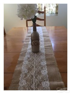 ON SALE, Ready to Ship! 9 ft. Burlap Lace Table Runner Burlap by QueensBanners
