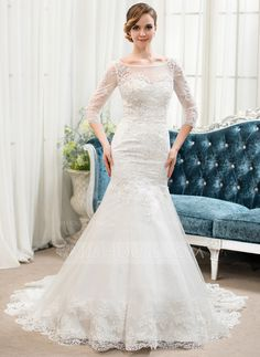 Trumpet/Mermaid Scoop Neck Court Train Tulle Lace Wedding Dress With Beading (002054364) - JJsHouse