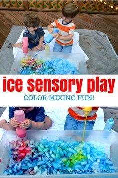 Ice play sensory bin for preschool summer outdoor play. Water play and sensory activity for kids. Use primary colors to engage preschoolers with this STEAM activity. and dislikes activities kids A Simple Sensory Bin for Ice Play — Days With Grey Water Play Activities, Sensory Activities Toddlers, Outdoor Activities For Kids, Steam Activities, Infant Activities, Sensory Play, Summer Activities For Preschoolers, Outdoor Play For Toddlers, Water Play For Kids