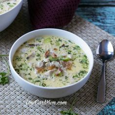 Warm up with some delicious cream of chicken soup with bacon and mushrooms. It's sure to take the chill out on a cool fall or winter day and satisfy hunger.