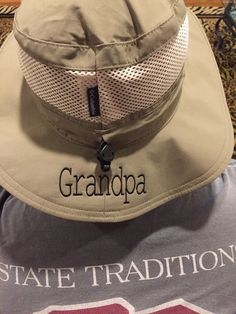 A personal favorite from my Etsy shop https://www.etsy.com/listing/252435996/monogrammed-fishing-hat-by-columbia