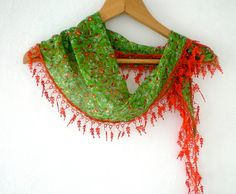 Green Scarf with Orange Lace  Floral Cotton Scarf by fizzaccessory, $14.00