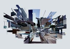 Extracts of Local Distance: Countless fragments of existing architectural photography are merged into multilayered shapes. The resulting collages introduce a third abstract point of view next to the original ones of architect and photographer. Photography Collage, Abstract Photography, Landscape Photography, Architectural Photography, Creative Landscape, Urban Landscape, Architecture Drawings, Landscape Architecture, Layered Architecture
