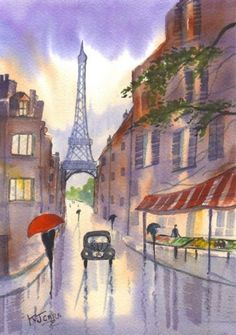 Art: Rainy Day~Eiffel Tower Paris by Artist KJ Carr