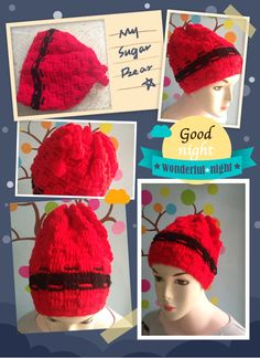 My mother crochet red hat