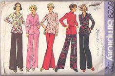 MOMSPatterns Vintage Sewing Patterns - Simplicity 6029 Vintage 70's Sewing Pattern Cool Casual Office Coordinates, Border Print Shirt Jacket, Blouse, Tunic Top & Flared Novelty Print Pants