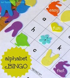 Alphabet Bingo This preschool activity is fun and only takes a couple minutes of time to set up and play. And just for you, I even made a free Alphabet Bingo printable to make this the easiest ABC activity ever. {promise}