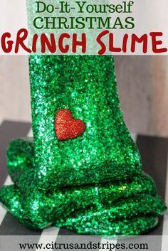 Everyone's favorite christmas movie, turned into a DIY Christmas Slime! This Christmas Grinch Slime is the perfect craft for the Christmas season! #christmas #crafts #slime #christmasslime #christmascrafts #thegrinch