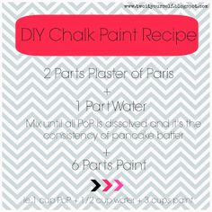 The best DIY Chalk Paint Recipe and it's only 3 ingredients (including water!) #DIY #chalkpaint