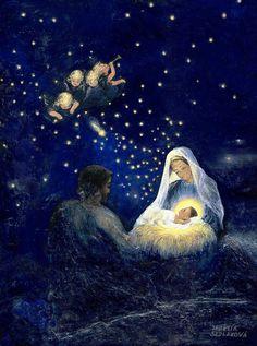 Holy Family - Christmas Painting by Terezia Sedlakova Wutzay Christmas Jesus, Christmas Nativity Scene, Christmas Scenes, Family Christmas, Catholic Art, Religious Art, Nativity Painting, Family Painting, Jesus Art