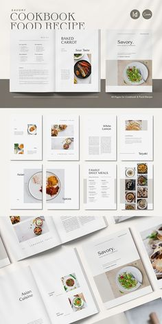Savory Cookbook & Food Recipe is a cookbook and food recipe layout for professional chef and food photographer. With layered imagery, bold graphic elements and flashes of color. The layouts are minimal, beautifully spaced and elegant. It's perfect for Food Magazine, Editorial Cookbook, Food Recipe Ebook and Professional Restaurant Cookbook.