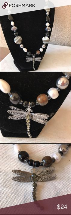 Dragonfly Necklace Stunning black, grey, silver & white shell beads.  Most other beads are glass or metal with dragonfly pendant.  Unique, handmade & one of a kind.  Lobster clasp closure. Jewelry Necklaces