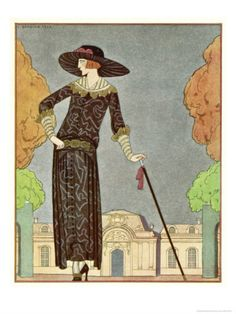 """Fashion Illustration - """"Two-Piece Barrel-Line Dress by Beer with Button Front Deep Cuffs En Bouffants Vandyked Collar"""" by Georges Barbier"""