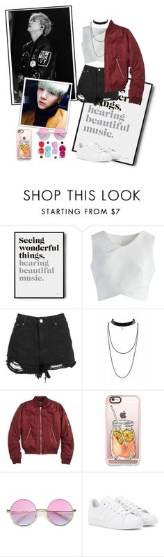 """""""BTS Suga - Date Outfit"""" by piatskie ❤ liked on Polyvore featuring Chicwish, Topshop, Casetify and adidas"""