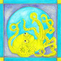 My original watercolor...Lime Octopus