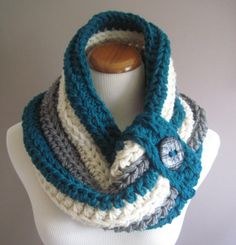 Cowl Chunky Bulky Button Crochet Cowl: Teal, Off White and Heather Gray with Black Button
