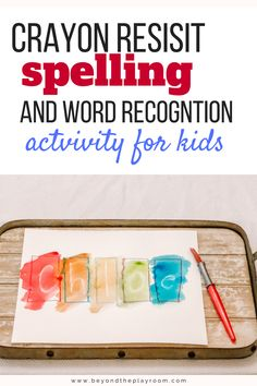 Crayon Resist Spelling Activity for kids. Kids love this simple and fun name and word recognition reading game using the magic of crayon resist art! Spelling Games, Spelling Words, Literacy Stations, Literacy Skills, Name Games For Kids, Name Activities Preschool, Magic Names, Name Practice, Learn To Spell