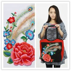 Red peony peacock tail Embroidery Flower cloth patch large patches of clothing and accessories, hand DIY Needleworks