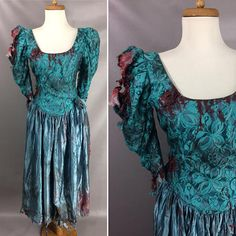 $114.00 80s Zombie Prom Queen Dress. Custom Made. Bloody Vintage Teal Puff Sleeve Lace Prom Dress. Zombie Halloween Costume. Bloody Dress. Size M