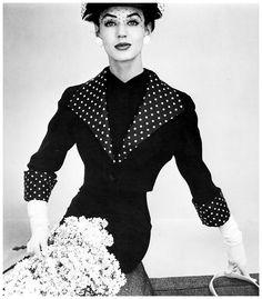 Fashion photo by John French, 1950′s Love the polka dot collar and cuffs