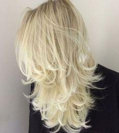 Platinum Blonde Layered Hair