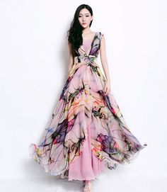 Bohemian Floral Print Dress Pleated Full Skirt Wrap A-line Dress Irregular  Hem Wedding Bridesmaid Prom Holiday Ball Gown Event Day Evening c4ba13932e