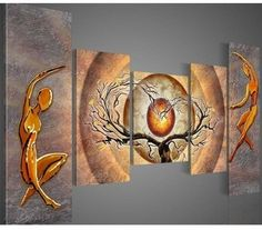 Hand Painted 5 Piece Abstract Heart Tree Nude Lovers Art Red Sun Landscape Canvas Oil Painting Wall Decor Living Room Pictures -- You can find out more details at the link of the image. Canvas Wood Frame, Tree Canvas, Canvas 5, Images D'art, Art Encadrée, Modern Canvas Art, Hand Painted Walls, Painted Wood, Oil Painting Abstract
