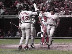 Red Sox Home Run!  10/3/95  The Red Sox celebrate at home plate after one of three home runs in Game 1 of the American League Division Series...the Indians won the game in 11 innings 5-4.  baseball