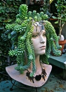 Eight DIY garden projects using mannequins - - Cool! But creepy………? Eight DIY garden projects using mannequins Cacti And Succulents, Planting Succulents, Planting Flowers, Succulent Ideas, Succulent Pots, Cactus Plants, Succulent Outdoor, Succulent Containers, Succulent Gardening
