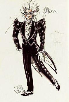 Elton John costume sketch by Bob Mackie