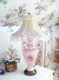 RESERVED for Hilary vintage pink lamp and lace shade shabby chic style table lamp floral lamp Shabby Chic Mode, Shabby Chic Bedrooms, Shabby Chic Style, Shabby Chic Furniture, Shabby Chic Decor, Shabby Chic Lighting, Shabby Chic Lamp Shades, Rustic Lamp Shades, West Elm