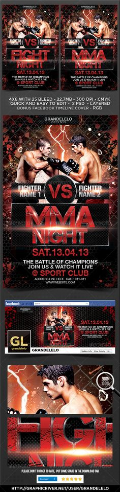 Fight or MMA Night Flyer Template #GraphicRiver Enjoy This Challenge Fight Flyer / Poster Templete, for you Fight sport, MMA, Boxing, wrestling, Martial arts, etc. In this template you can change everything you want, color, style, pictures, typo is no problem. It is well-assorted in folders and layers. Fighters models are not included Fonts links: Capture-It: .dafont /capture-it Neuehelvetica Family : .linotype /1266/neuehelvetica-family.html Fighters: photodune…