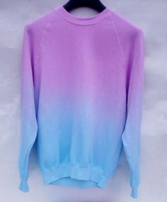 dampen sweater, dip bottom half in bleach. rinse, dry. repeat previous steps bleach with blue dye. Wear. Love.