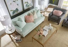 Living room with mint green couch aerial view Mint Living Rooms, Simple Living Room, Living Room Green, Living Room Sofa, Living Room Decor, Mint Green Furniture, Green Couch Decor, Mint Green Rooms, Mint Green Decor