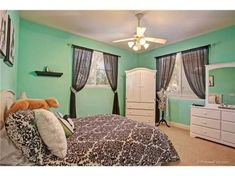 Tiffany inspired french teen room, Black and white accesories and bedding with Aqua colored walls for a teen girl, Girls Rooms Design