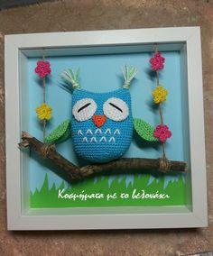 frame with crochet owl!!!