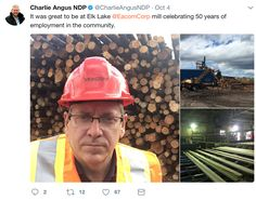 Over twitter, Charlie went out to support the workers at Elk Lake Mill to celebrate their 50 years in the community providing employement to citizens.