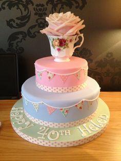 Cath Kidston/vintage style cake - 40th birthday