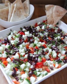 We eat a lot of hummus in our house. It's a great, healthy dip, but sometimes it needs to be dressed up for a night out on the town. (AKA: I need something to take to a party and usually have these ingredients at home already.) I'm a busy working mom, so anything that can be fixed fast is my friend!  Enter, 5 layer Greek